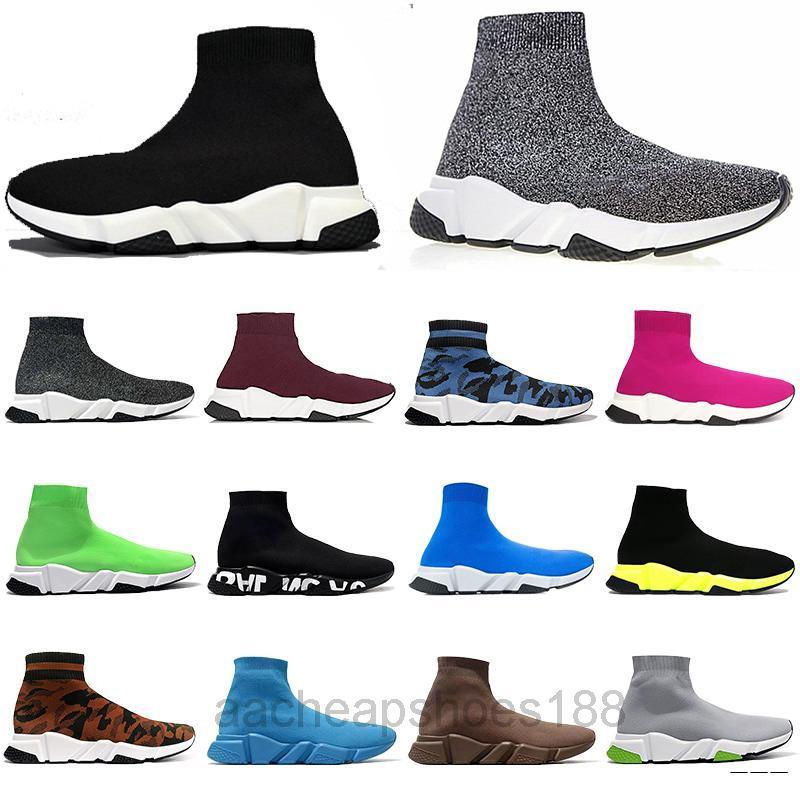 2021 Neue Herren Womens Turnschuhe Mode Qualität Strick Socken Schuhe Geschwindigkeit Hohe Rennläufer Schwarz Weiß Slip-on Triple S Freistehende Schuhe FDC6