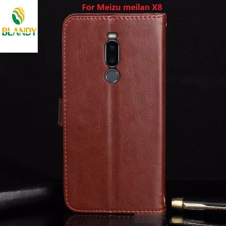 Por nota Meizu Meilan 8 louco cavalo carteira tampa do telefone de couro TPU para Meilan X8 6T