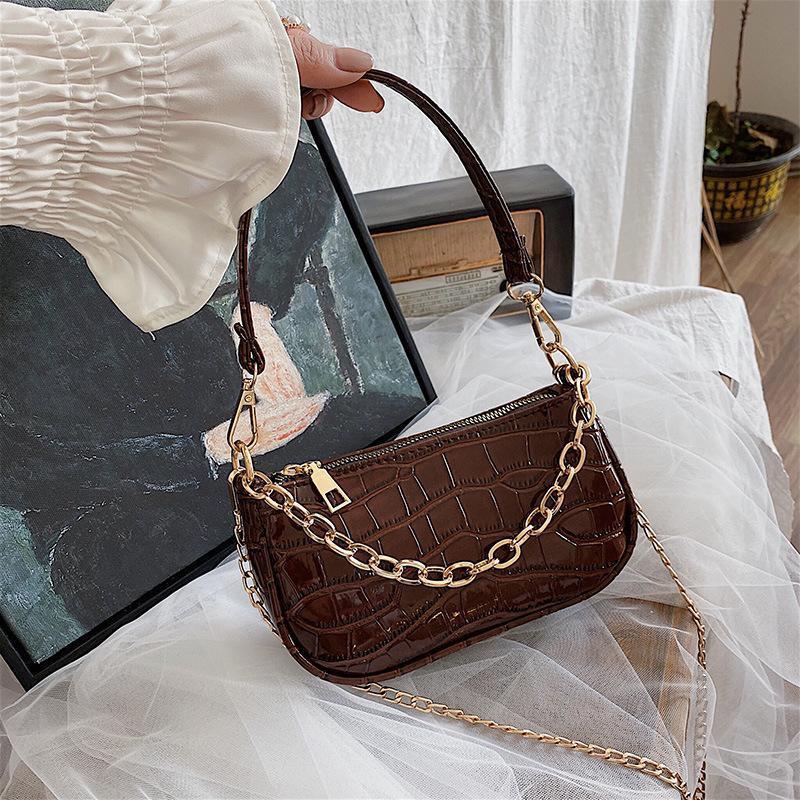 Мода Crocodile Pattern Baguette Bags Bags Mini PU кожаные сумки на плечо для женщин цепные дизайнер роскошная сумка женское путешествие