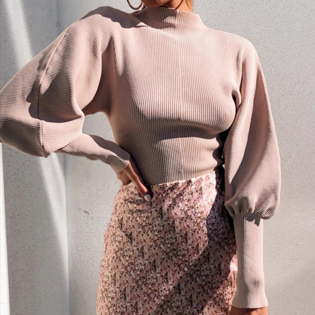 Ladies '2020 Hot Vente Femmes Mode Lanterne manches couleur unie Tricoté Pull Pull Hauts Vêtements décontractés