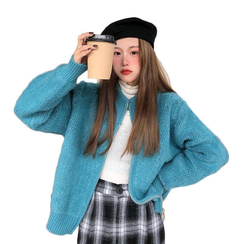 2021 autunno inverno donne cardigan con cerniera maglione signore moda solido lana sottile manica lunga manica lunga cappotto semplice design semplice