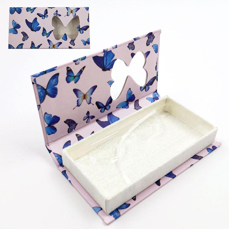 butterfly window false eyelash box long empty mink lashes cases with tray butterfly printed pink false eyelash packaging box HHA3442