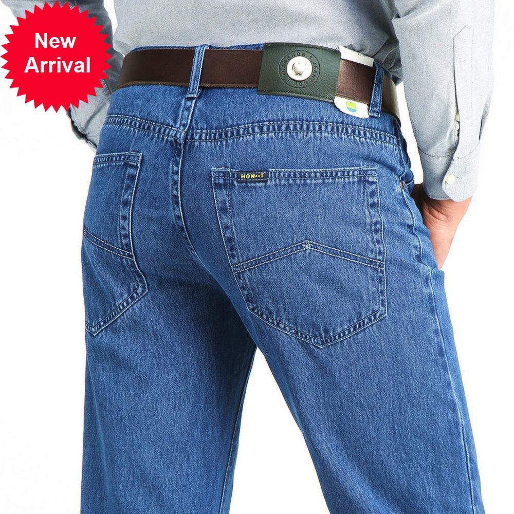 Nova Chegada Solta Calças de Jeans Homens Tecido de Algodão de Business Verão Marca Reta Denim Calças Para Calças Casuais Masculinos Mens