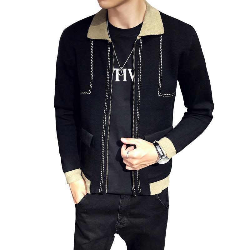 2020 New Men Preto malha Camisolas Moda Lapel Mens Casual Coats Zipper Placket Slim Fit masculino Costura Vestuário