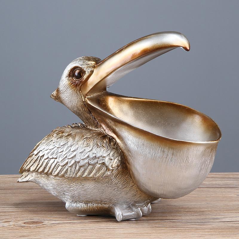 الكائنات الزخرفية التماثيل طوقان مفتاح التخزين تمثال بيليكان تمثال سلة الحيوانات الطيور النحت المنزل ديكور سطح المكتب ديكور هدية