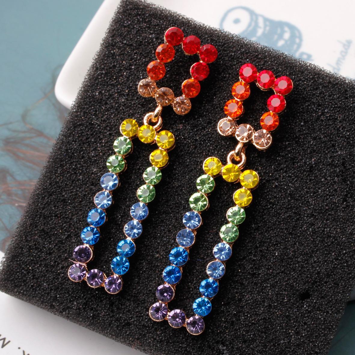 S925 Silber pin Ohrringe übertrieben Ohrringe in Europa und Amerika geometrisch einfache Farbe Diamant-Ohrringe Großhandel