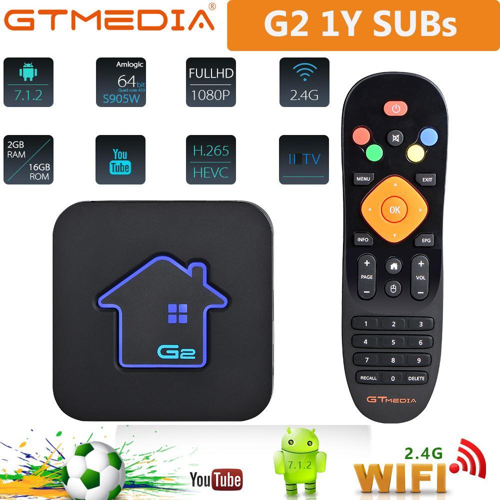 2G RAM + 16G ROM GT Media G2 Decoder TV Android Construit en 2.4g Wi-Fi 4K 1080P LXtream M3U Europe Smart TV Boîte GTMedia