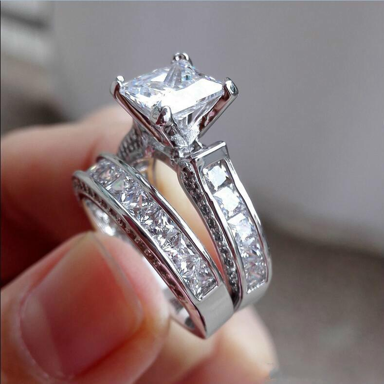 Vente en gros Mode 925 Sterling Silver Bijoux Set Square Topaz CZ Simulé Diamond Gemstone Anneaux Ensembles Bague de mariée Doigt pour femmes
