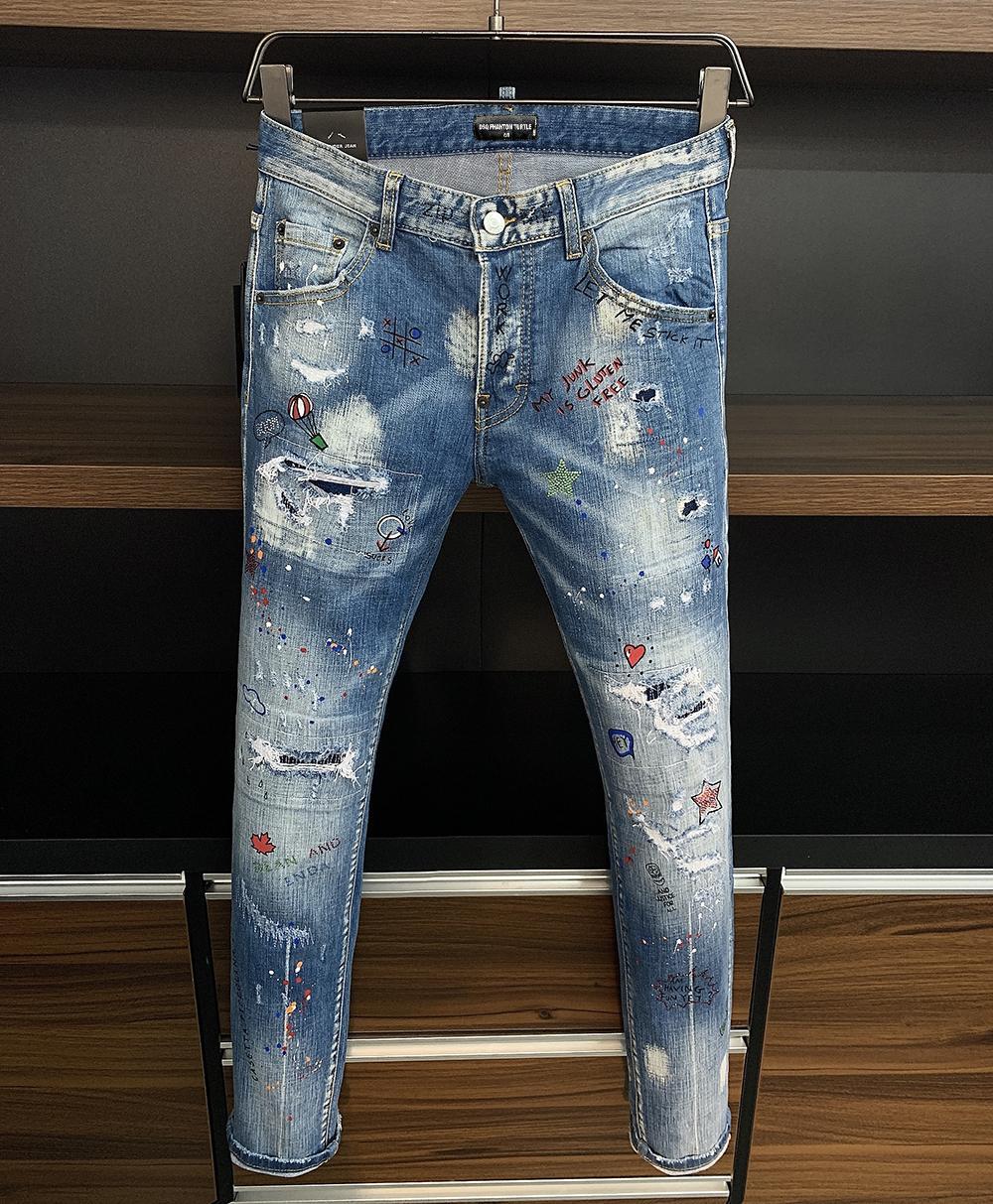 Brand Jeans Mens de luxe Designer Jeans Skinny déchiré Cool Cool Causal Hole Denim Fashion Marque Fit Jeans Hommes lavés Pantalon 7815