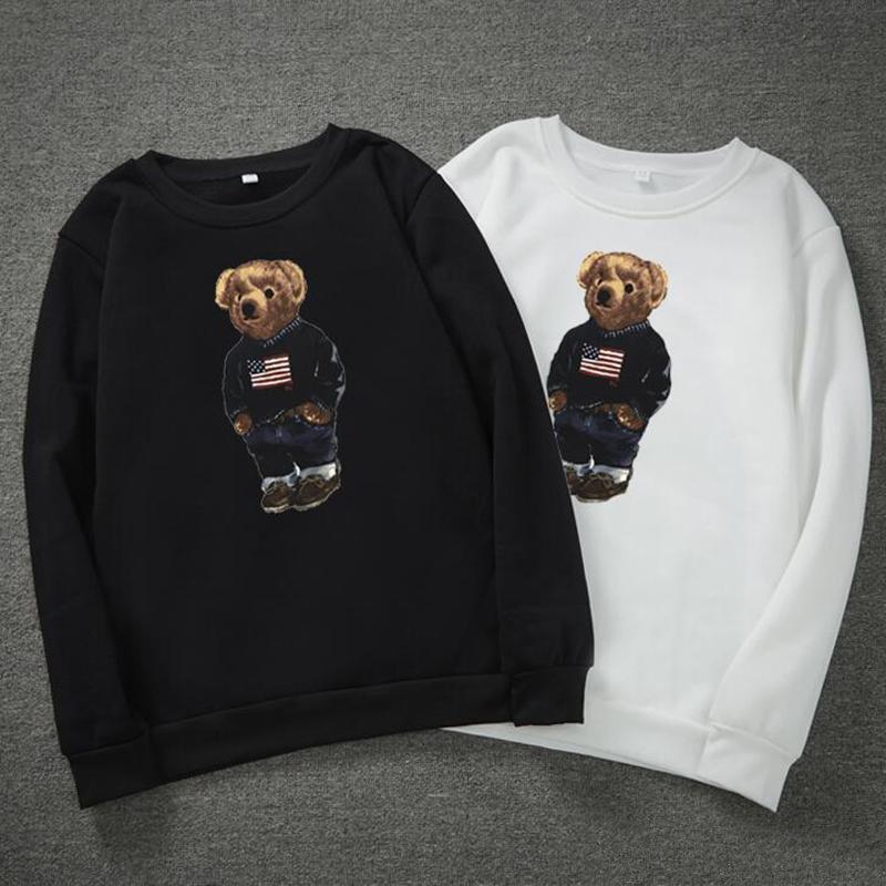Urso europeu e americano impressão polo camisa ocasional de mangas compridas de manga longa masculino roupas de moda roupas redonda t-shirt