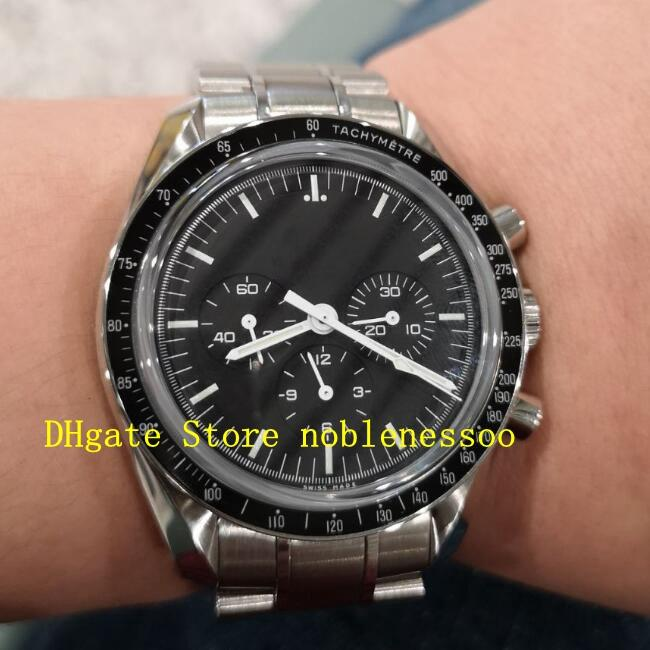 Mens Steel Automatic Black Dial Moon Watch Men Professional Broad Arrow Chronograph No Work Mechanical Men's Watches Wristwatches
