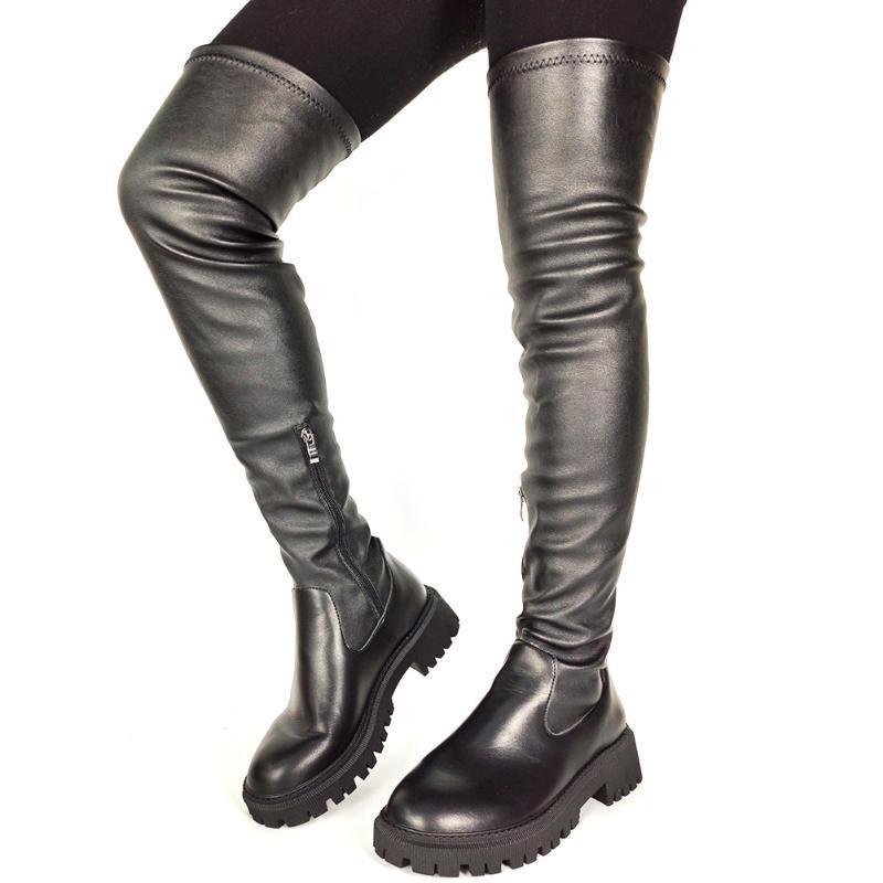 Botas Marca Moda Venda Grande Qualidade 2021 Sapatos na moda sapatos aconchegantes sapato de estiramento à prova de derrapagem sobre a mulher do joelho