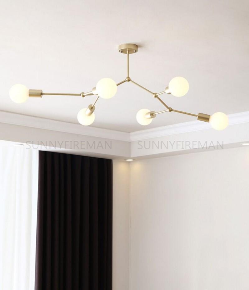 Novo candelabro molecular nórdico criativo árvore de ouro em forma de multi cabeça interior iluminação quarto pingente lâmpada de café luzes lustres candelabros