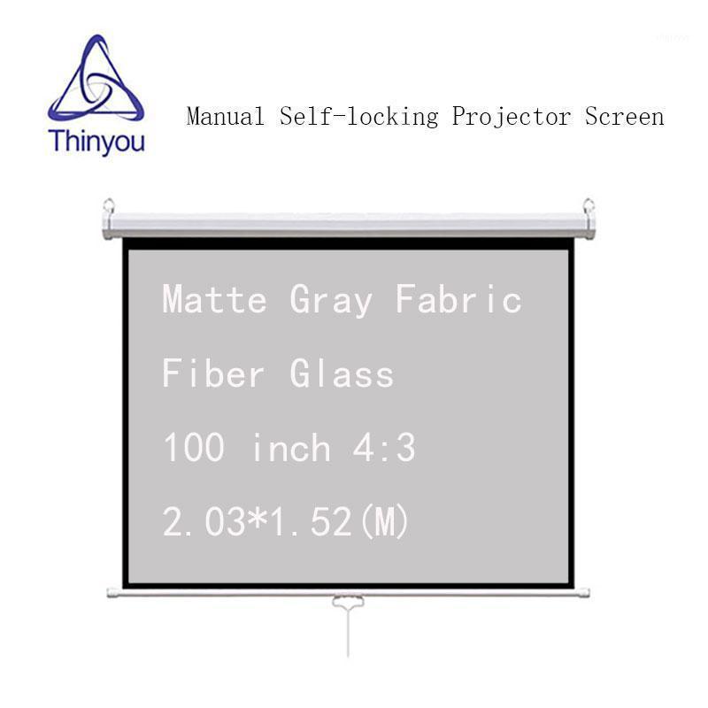Thinyou 100 بوصة 4: 3 السيارات قفل الشاشة الذاتي ماتي رمادي النسيج الألياف الزجاج اسحب الشاشة دليل العارض اليدوي ل HD Projector1
