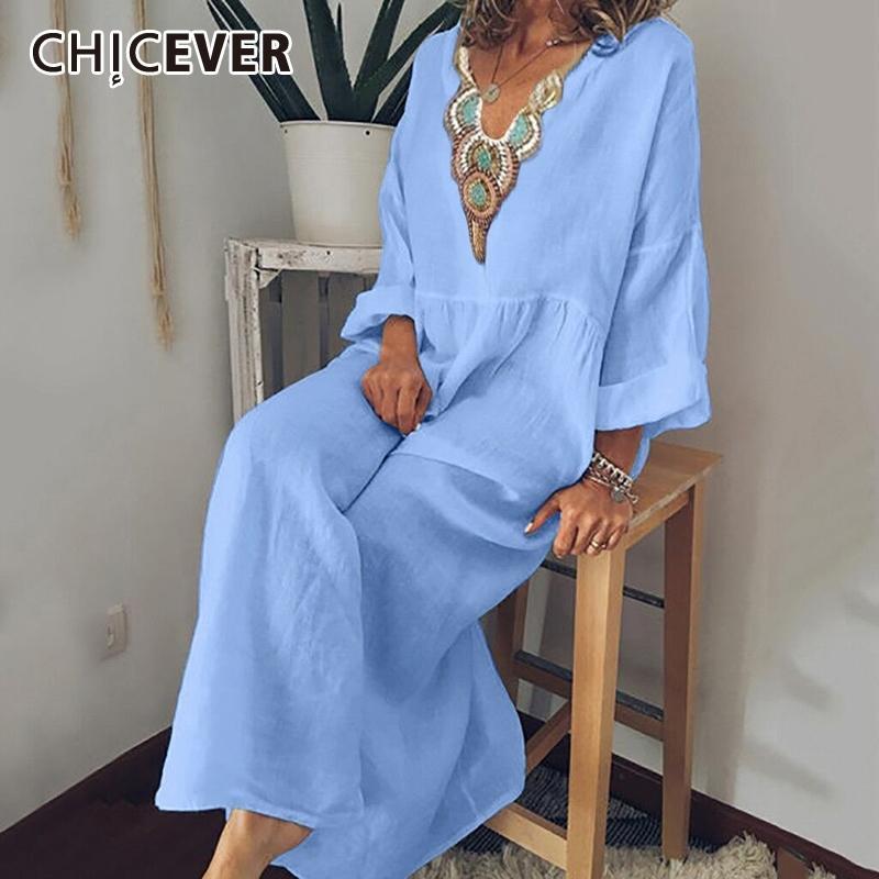 Cicever Print HiT Color Press для женщин V-вырез с длинным рукавом Свободные плюс размер повседневные Maxi платья женские летние моды новый Y200805