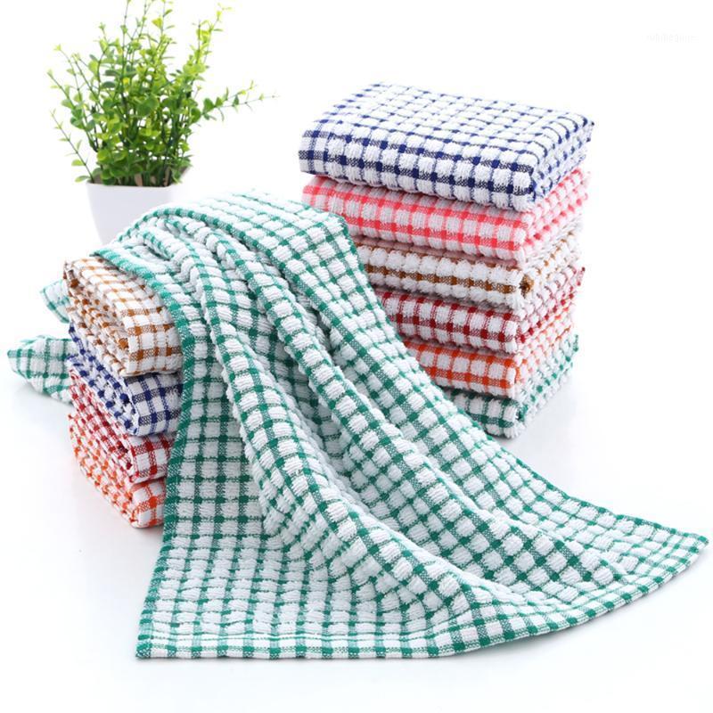 3/6/9 / 12pcs Asciugamani di panno per la pulizia Cucina Plaid piatto cotone assorbente panni dishcloth fazzoletto fazzoletto di lattice asciugamano 40x65cm1