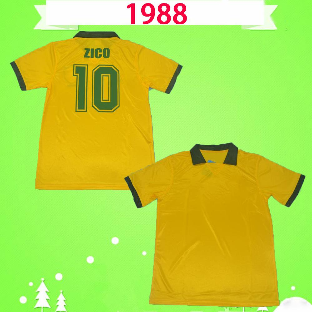 Brazil 1988 1991 브라질 복고풍 축구 유니폼 브라질 빈티지 ZICO 홈 옐로우 88 91 뮬러 Renato Gaúcho Raí Valdo 클래식 브라질 축구 셔츠