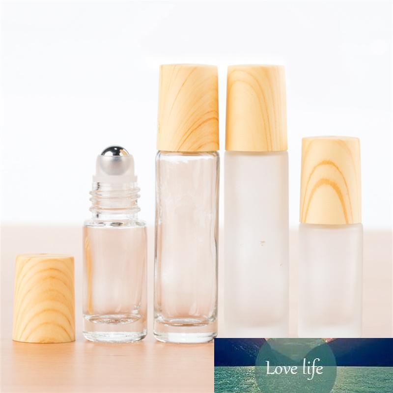 10/20/30PCS 5ML 10ml Glass essence oil bottle with steel ball Portable Perfum Bottles Conveniet Lip Balms With Roller Balls