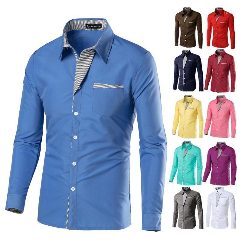 2020 sommer männer gestreifte colorblock slim shirt frühling neue heiße verkauf hohe qualität solide casual langarm blusen m-4xl plus größe1