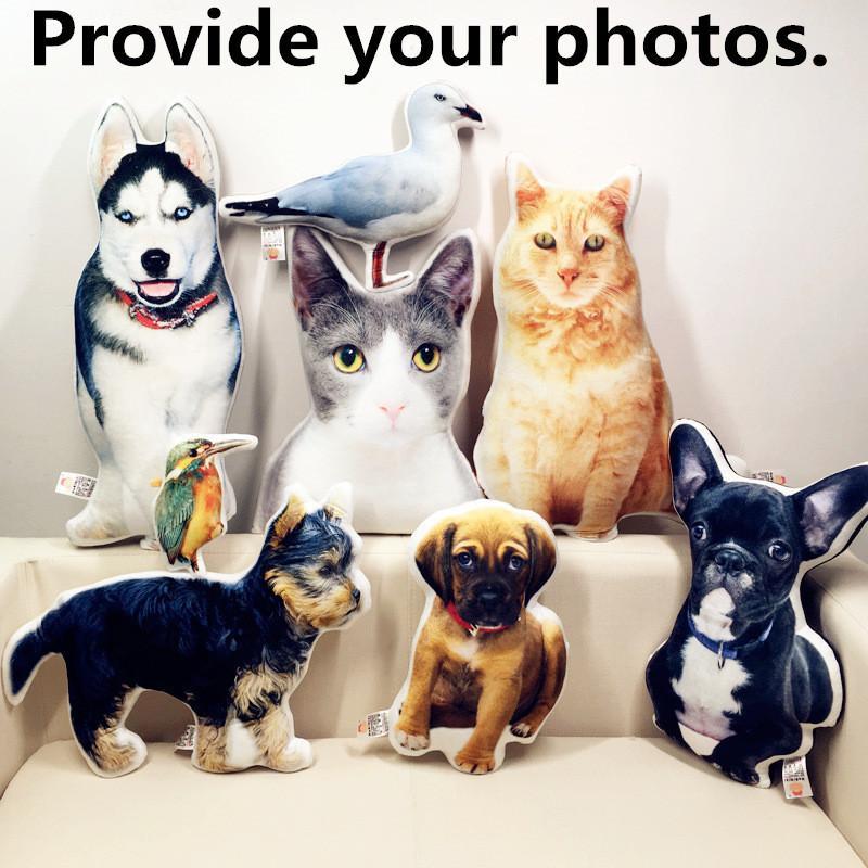 Yeni Sıcak Fotoğraf Özelleştirme DIY Köpek Yastık Peluş Oyuncaklar Bebekler Dolması Hayvan Yastık Kanepe Araba Dekoratif Yaratıcı Doğum Günü Hediyesi Y200723