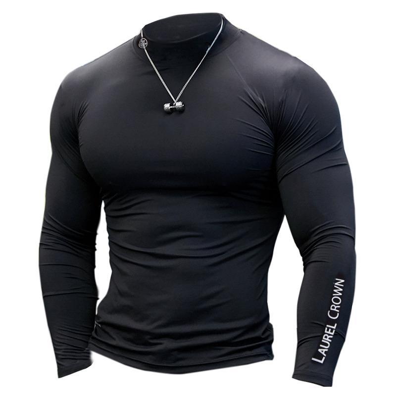 Uomini Palestre Fitness T-shirt Compression Skinny Bodybuilding maglietta muscolare autunno maschio allenamento Casual Tee Tops marchio di abbigliamento 1116