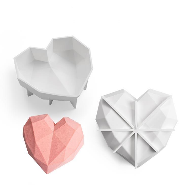Разбиение сердца силиконовые формы для шоколадного алмазного торта плесень, плесени для шоколадного мусса, выпечки, выпечки SN5101