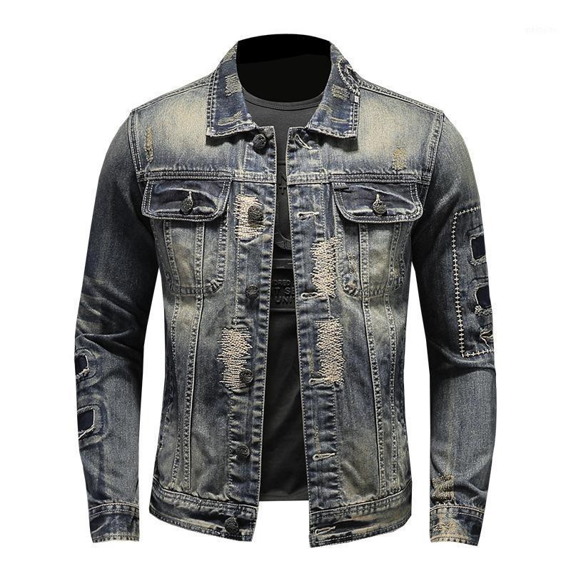 Hommes trous déchiré veste en denim en détresse Vintage moto motard moche broderie patch design veste rocheuse drop shipping1