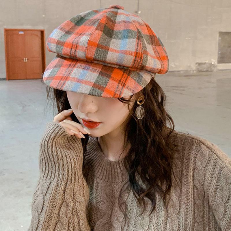 Chapeau de luxe-octogonal Femme Automne et hiver Britannique Plaid Plaid Western Western Batch Hat Automne 2020 Hiver Nouveau