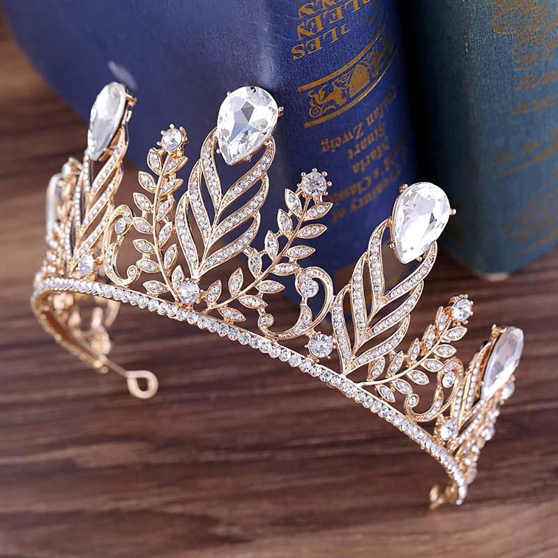 Ретро Baroque Glitter Gold Color Crystal Leaf Wedding Tiaras и Crown повязки для женщин невесты Noiva Bridal Accessoration