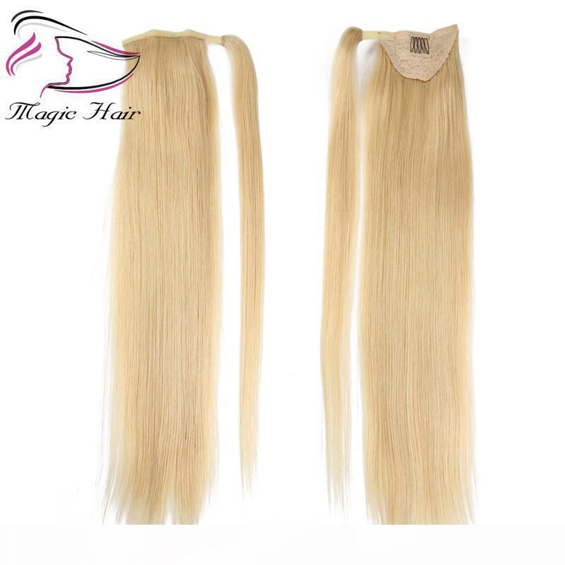 Evermagic Ponytail Human Hair Remy Straight European Ponytail Frisur 50g 100% Natürliche Haarspange In Erweiterungen