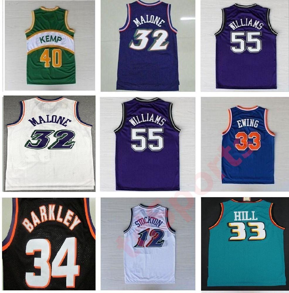 Ретро баскетбольные трикотажные изделия Garnett 33 Hill Ason Stockton 32 Karl Malone Jason Williams Ewing Gary Payton Kemp Barkley Jersey NCAA