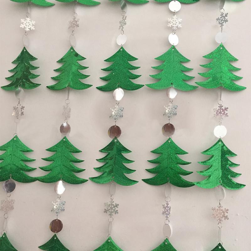 Украшение партии 1Мет DIY блестение штор рождественские украшения рождественские украшения праздничные поставки дерева снежинки блестки