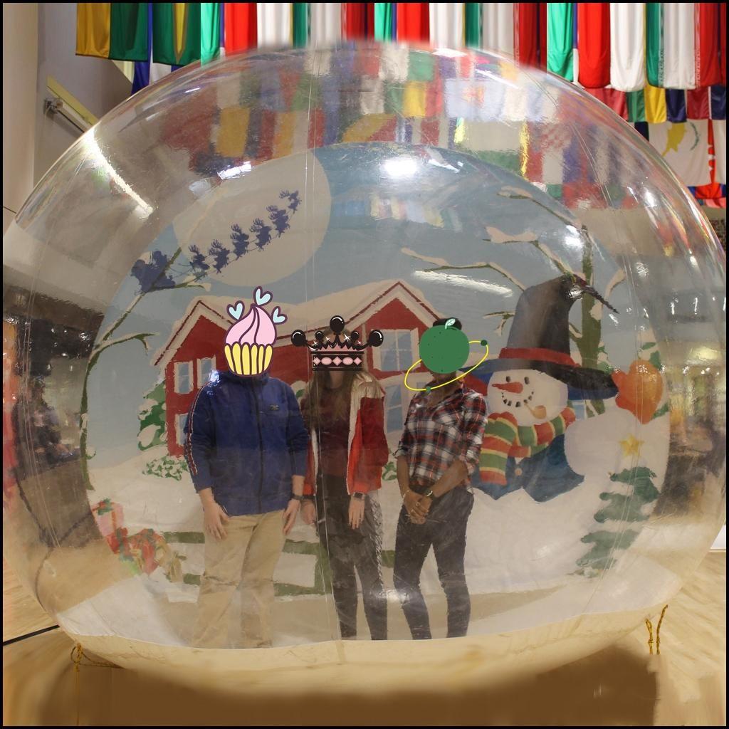 Globo di neve gonfiabile per decorazioni natalizie, bolla Photo Booth Dome Tent Decorations, Gommone Globo di neve di Natale Dimensione umana