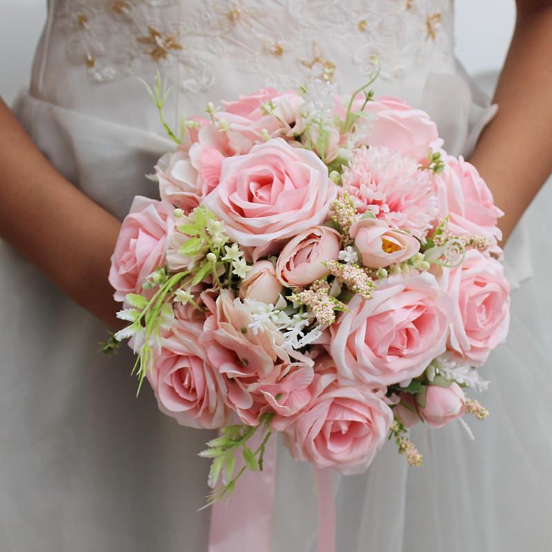 Pembe Gelin Buketleri Yuvarlak Düğün Çiçekler Simülasyon Güller De Mariage El Yapımı Broş Düğün Fotoğraf Dekorasyon