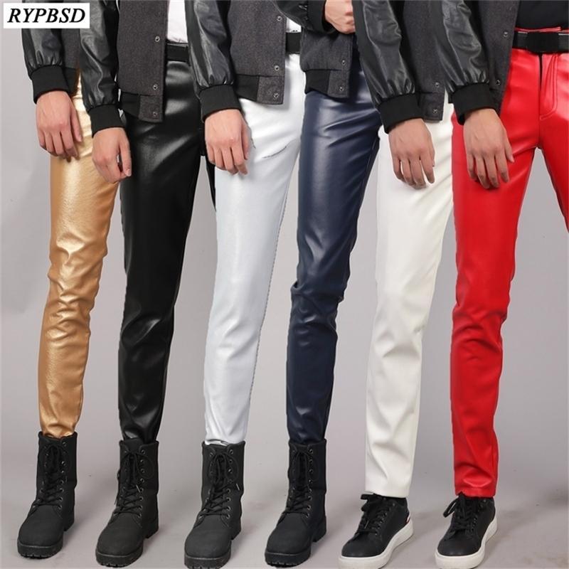 Pantalon en cuir PU Hommes Slim Fit Stretch Fashion Casual Haute Qualité Zipe à glissière Skinny Discothèques Faux Hommes Pantalon en cuir Plus Taille 38 201218