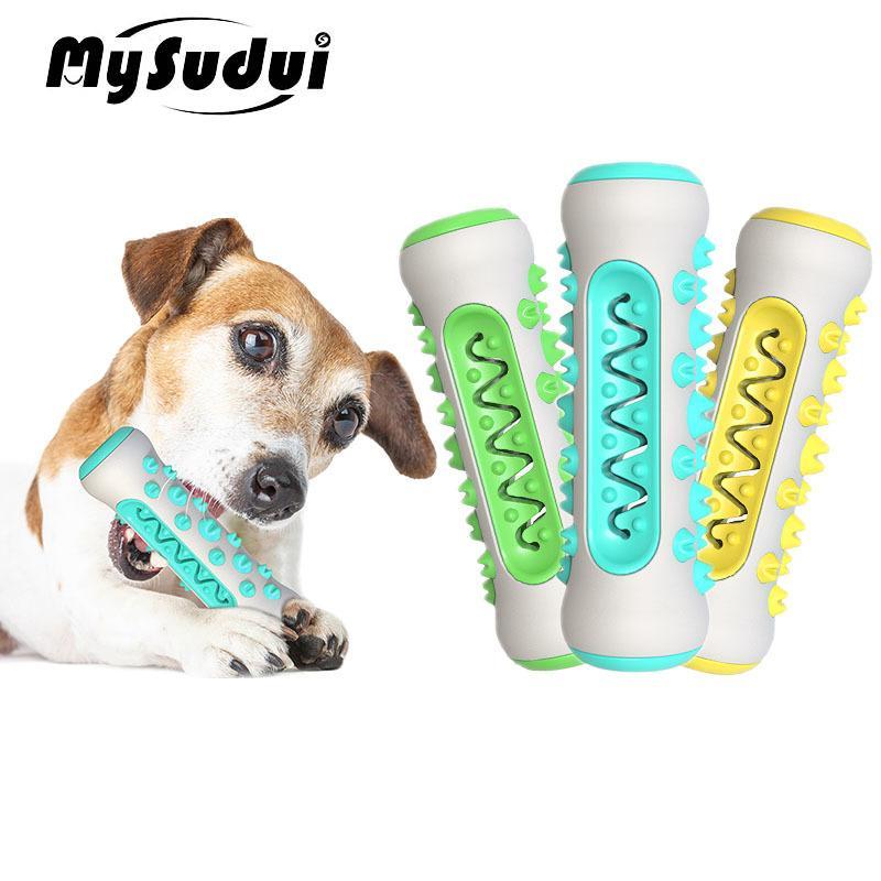 Mysudui multifunción PET MOLAR MOLAR Limpiador de dientes de hueso Perro de hueso Masticar Limpieza Juguetes de cepillo de dientes Toys Resistente a la mordida Dispensador Y1125