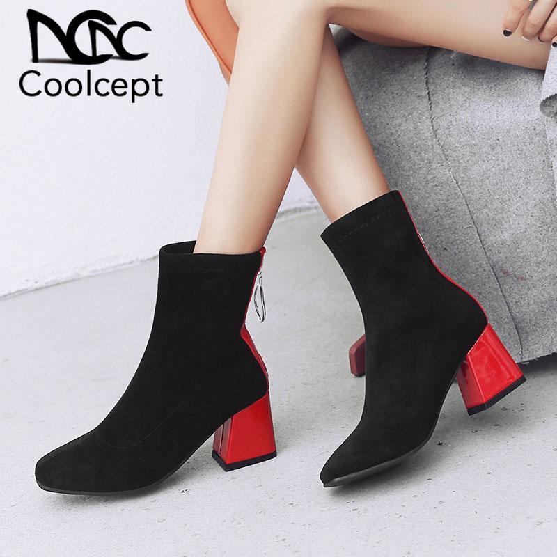 Creamcept Plus Размер 32-48 Женщины Высокие каблуки Ботинки Меховые Зимние Лодыжки Сапоги Смешанные Цвет Короткие Мода Теплые Обувь Дамы