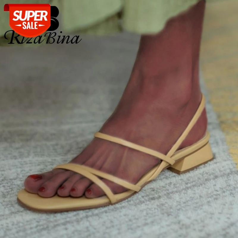 RIZABINA New Arrival Women Sandals Shoes Fashion Square Heels Solid Color Shoes Women Casual Slip On Lady Footwear Size 33-40 #3937