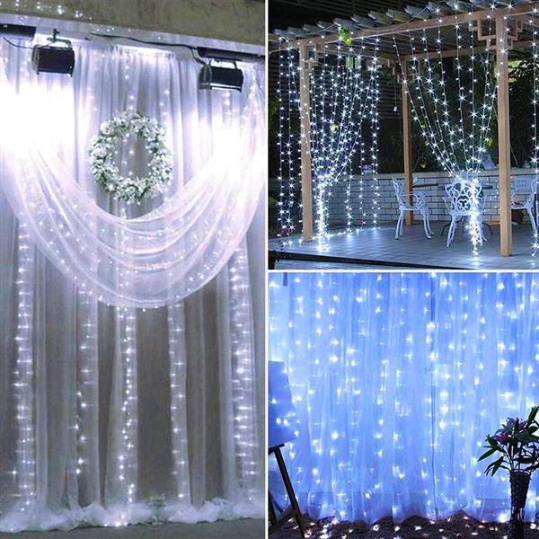 Design più nuovo 18m x 3m 1800-LED caldo bianco caldo luce romantico natale nozze decorazione all'aperto tenda corda stringa luce US standard bianco