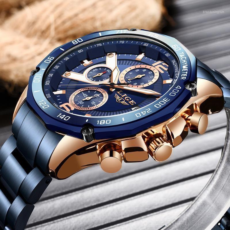 LIGE Hommes Regardez les montres à quartz Sports Top Sports TO Steel Steel Étanche Chronographe Bracelet Hommes Relogio Masculino + Box1