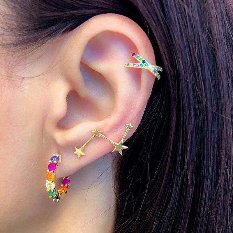 Rainbow CZ Runde Hoop Ohrring Für Frauen Modeschmuck Gold Farbe Klassische Mini Cz-Reifen mit bunten Stein Wunderschöne Schmuck