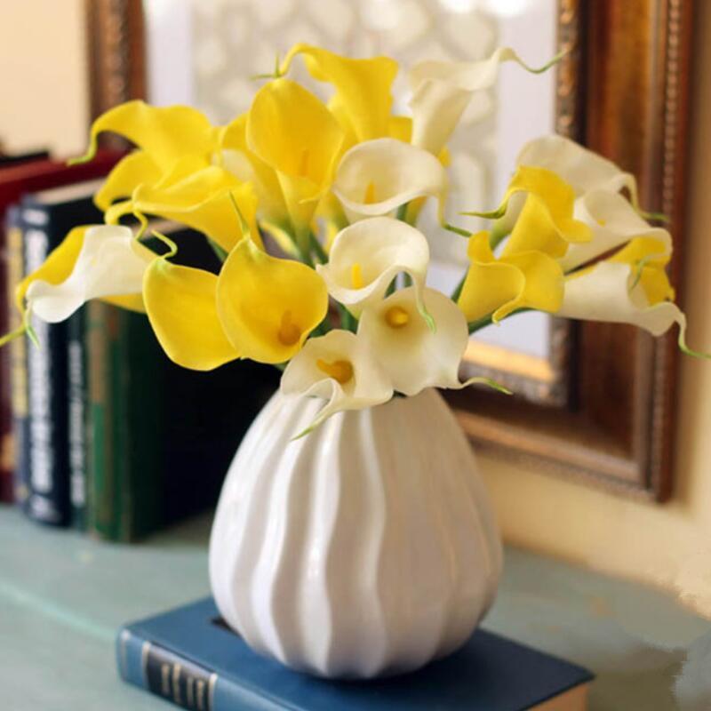 """21 colori Real Touch 15 """"Artificial Calla Gily Flower Bouquet Turchese Mini Calla Lily Bidal Bouquet Decorazione di nozze AHD3089"""