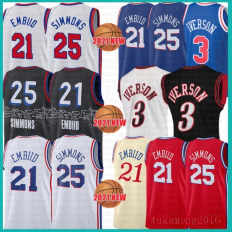 2021 Novo Joel 21 Embiid Jersey Ben 25 Simmons Mens Allen 3 Iverson Mesh Julius 6 Erving Retro Lavanda barato