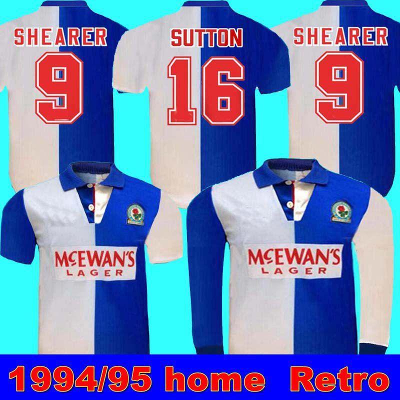 1994 95 Blackburn Retro Home Shirt Shearer 9 Blackburn Rovers Retro Football Jersey 94 95 Blackburn Retro Sutton 16 Ripley 7 Jersey