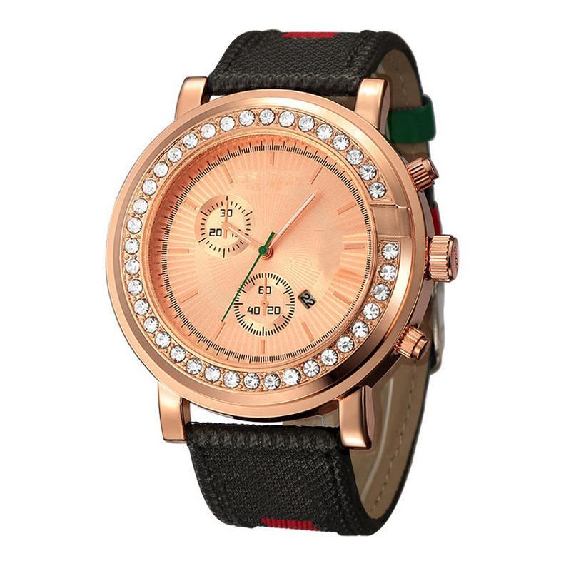 Cuero Marca Hombres Relojes de moda Cuarzo Big Dial Muñeca Estilo de cristal Correa Pocrw