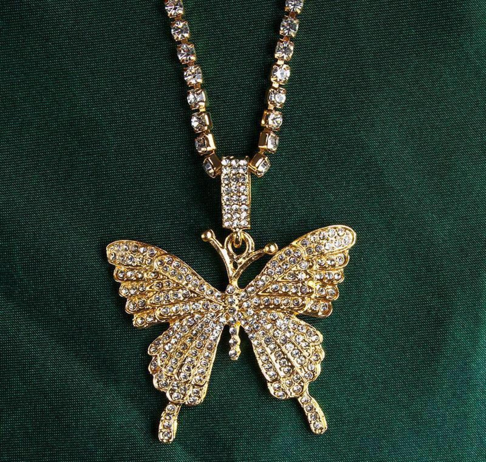 Estilo de moda COLLA DE HIPHOP MARIPOSA Colgante Collar Colgante de cristal completo Mujeres Iced Out Bling Butterfl Jlljyv DH_garden