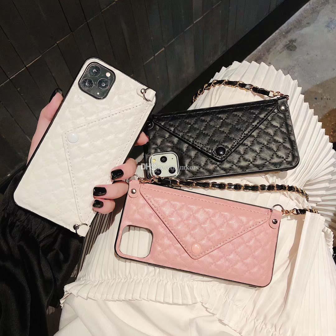 أزياء جلدية غطاء الجلد لفون 12 12PRO 11 11PRO X XS ماكس XR 8 7 6 6 ثانية زائد مظروف فتحة بطاقة حامل غطاء الهاتف المحمول + سلسلة