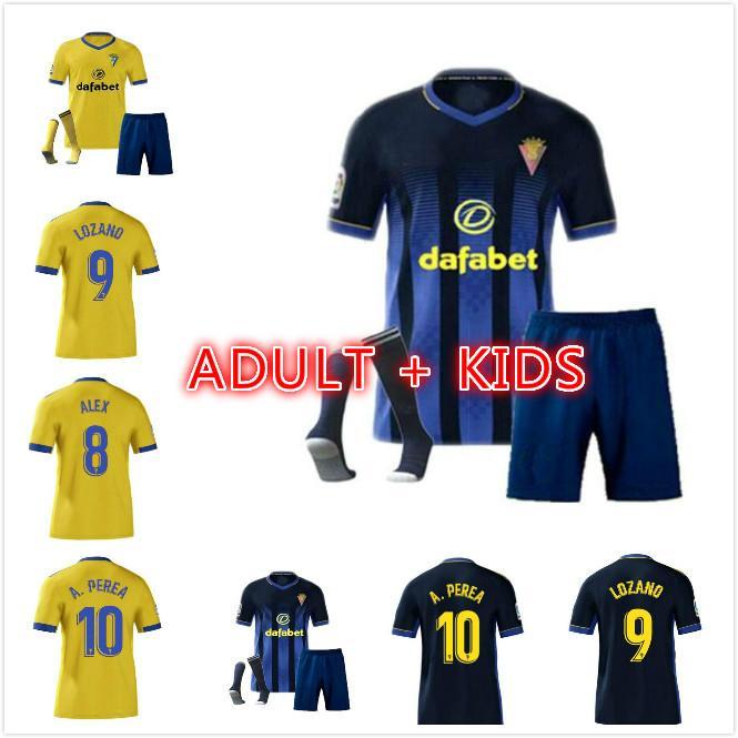 Kit de niños para adultos Cádiz CF Camisetas de fútbol La Liga 2020 2021 Cádiz Soccer Jerseys Chándal Lozano Alex Bodiger Juan Cala Uniformes de fútbol