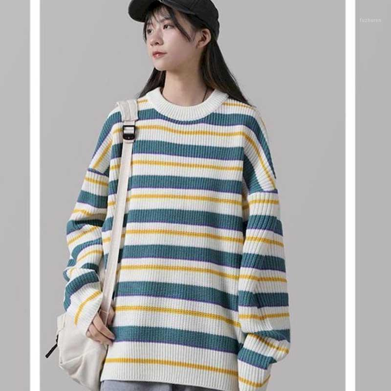 Autumn and winter new round neck striped sweater female students loose wild long-sleeved sweater pullover jacket Korean retro Ho1