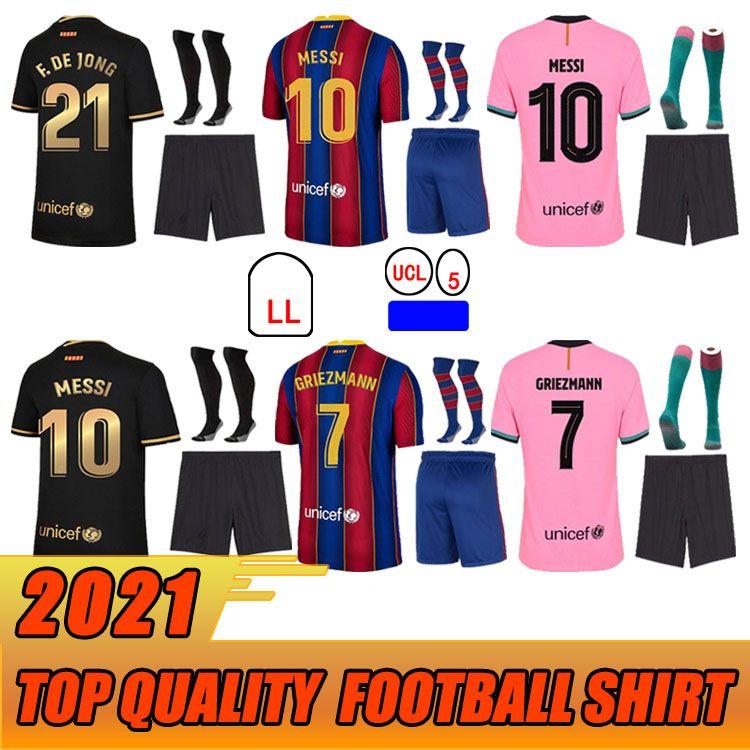 الرجال + الاطفال كيت الجوارب لكرة القدم جيرسي برشلونة 20 21 أنسو فاطن 2021 Grizmann F.de جونغ كلاسيكو رابع قميص كرة القدم